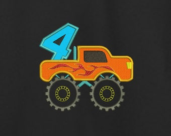 Monster Truck 4 Applique Machine Embroidery Design, Truck Birthday Applique, Boy First Birthday Truck, Construction Racing, 4 Four