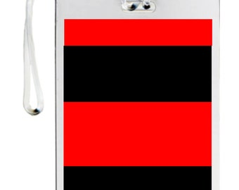 Red and black luggage tag with initials