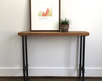 "The ""Frye"" Console Table - Reclaimed Wood & Pipe Console Table - Reclaimed Wood Console Table"