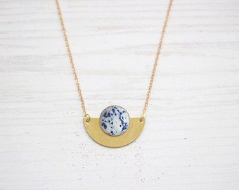Speckled Blue Semicircle Indigo Necklace Brass