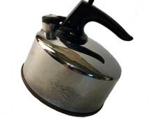 Small Revere Ware Kettle, Vintage Whistling Tea Kettle, Copper Bottom, Paul Revere Ware, 1 Quart Stainless Steel Kettle, Vintage