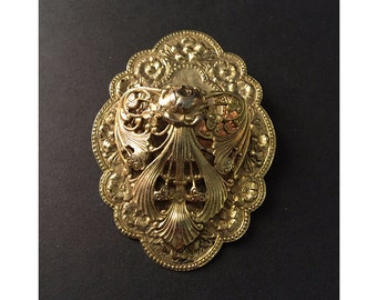 Ornate Brooch with Unusual Pocket, You Must See the Photos! Vintage