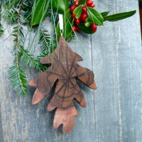 Fall Autumn wedding decorations, Rustic wood ornament, Natural Christmas wood ornament, Natural wood Oak leaf ornament, Turn over a new leaf