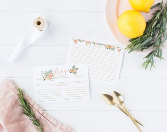 Boho Recipe Cards - Double Sided Printed Bridal Shower Recipe Cards - Peach and Mint