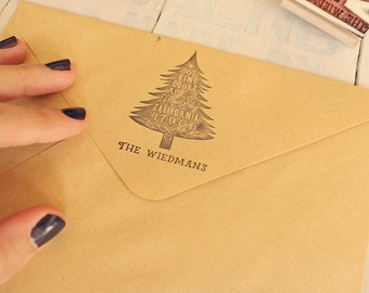 Christmas Tree Return Address Stamp - Holiday Cards Stamp - Rubber Stamp