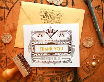 Great Gatsby Thank You Cards - Personalized Thank You - 1920s Glam - Custom Wedding Thank You Cards from the Future Mrs