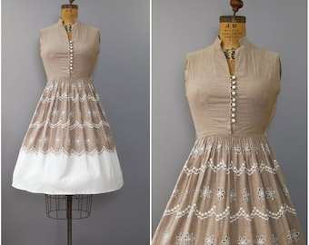 1950's Taupe Cotton Embroidered Sun Dress • small