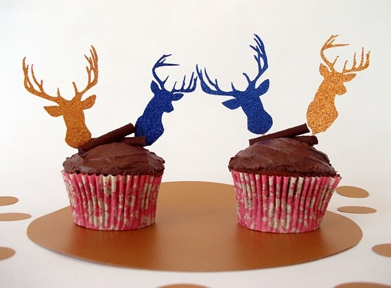6 x Stag Cake Topper Reindeer Cake Topper Deer Cake Topper