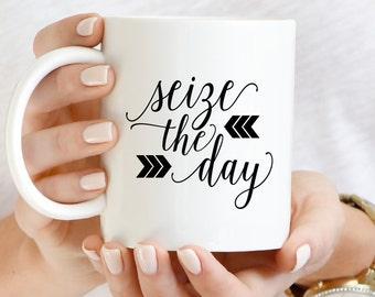 Motivational Coffee Mug | Carpe Diem Mug | Seize the Day Coffee Mug Gift | Inspirational Mug