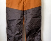 Vintage SAF-T-BAK Brown Canvas Hunting Trousers Nylon Brush Guard Workwear Outdoor Pants Size 34x30