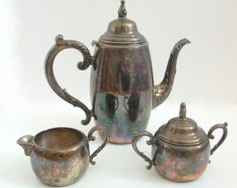 Silver Tea Set, Vintage Tea Set, Oneida Tea Set, Silver Plate Tea Set, Silver Tea Service, Silver Coffee Set, Oneida, Vintage Tea Service