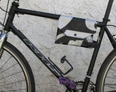 Top Tube Bike Frame Bag Cute Bicycle Accessory Upcycled Repurposed Recycled Commuter Vinyl Banner Rubber Inner Tube  Black Pearl Silver
