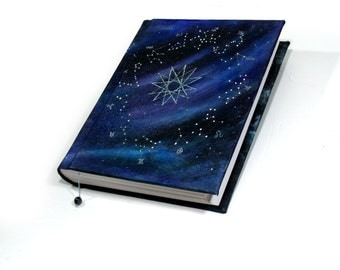 Starry Skyy Seal Tome, 300 page Large Blank Book of Shadows, Hardback Grimoire, Handmade Zodiac Occult Journal, Sketchbook