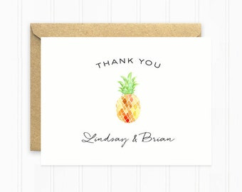 Pineapple Thank You Cards, Personalized Wedding Cards for Beach Wedding, Summer Wedding