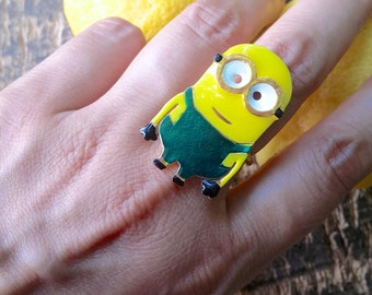Minion Ring, Minion Gift, Minions Jewelry, Fun ring, Adjustable Ring, Funky Ring, Harajuku fashion, Handmade Ring, Minion Birthday Gift