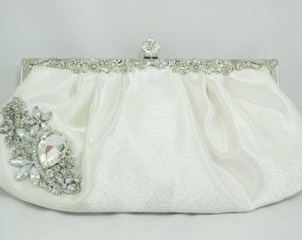 White Wedding Purse, Luxury Pleated Swarovski Bridal Clutch, Vintage Style Clutch, White Wedding Bridesmaid Silver Metal Frame Snap Clutch