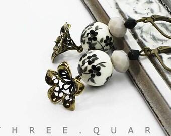 Earrings, cherry blossoms, black, white, gray, antique, bronze, flowers, Japan, beads, leaves, metal, wedding, gift, vintage