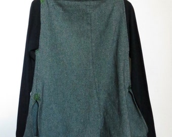 cotton tunic, tunic, blouse women's long-sleeved dark blue green, boat neck, side vents, women's tops, upcycled clothes, recycled fabric