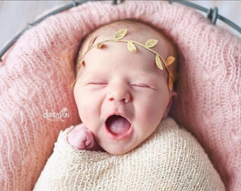 baby headband - newborn headband- baby girl headband - gold headband - infant headband -  gold baby headband - headband