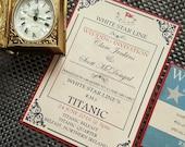 PRINTABLE Titanic Invitation & RSVP (Digital file), Nautical wedding invitation, Titanic Birthday Party, Edwardian party invitation