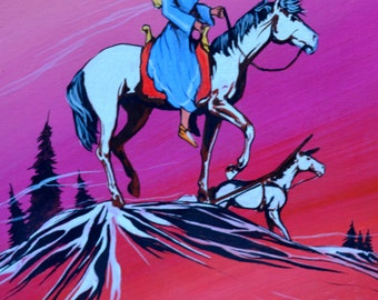 Vintage 1970's Original Painting Indian Woman and Child on Horseback by Native American Artist Sheila Hill