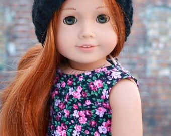 AG Doll Clothes | Black Hand Knitted Slouch Slouchy HAT for 18 Inch Dolls