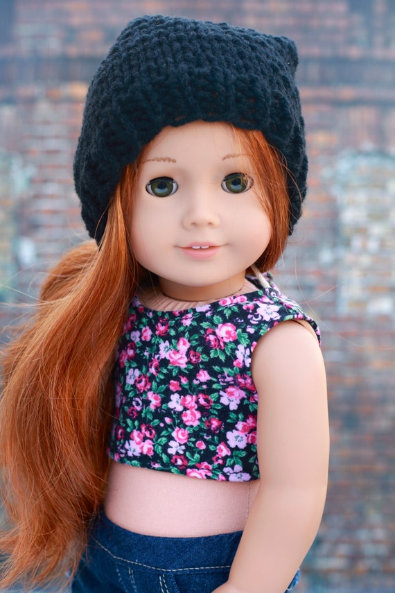 AG Doll Clothes | Black Hand Knitted Slouch Slouchy HAT for 18 Inch Dolls such as American Girl