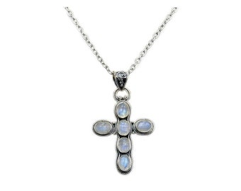 Faith Moonstone Cross Necklace & .925 Sterling Silver Cross Pendant Necklace AA403X16, AA403X18