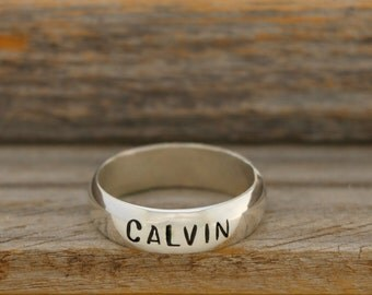 Stamped Silver Name Ring