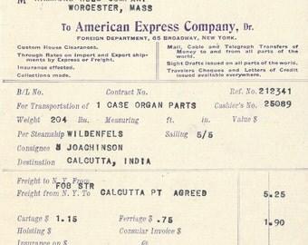 American Express Company - 1913 Ephemera - Hamond Reed Company Worcester Massachusetts - Steamship Wildenfels - Pipe Organ Parts