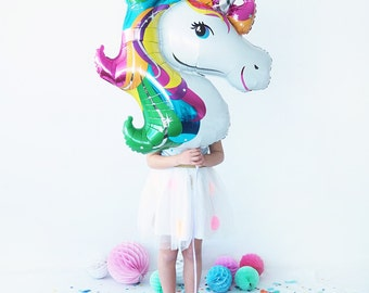 33''Jumbo Rainbow Unicorn Printed Foil Party Balloon with Satin Ribbon