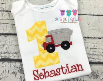 1st Birthday Construction Shirt - Baby Boy Birthday Shirt - Boy Dump Truck Birthday Outfit - Truck Birthday Shirt - Boy Birthday shirt