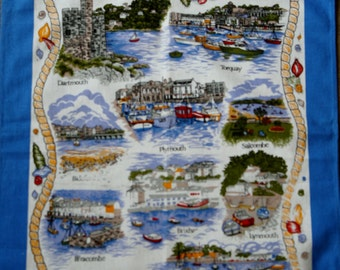 Devon Harbours retro Tea towel