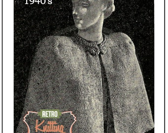 1940s Three Way Cape Knitting Pattern - PDF Knitting Pattern Instant Download