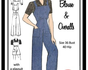 1940's Dungerees and Blouse -  Rosie the Riveter -  Full Size Paper Sewing Pattern