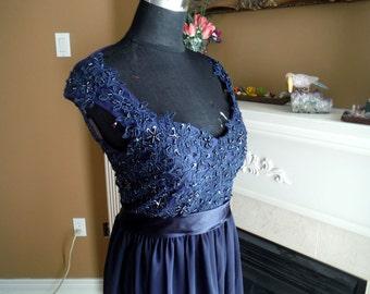 Navy blue bridesmaid dress, lace bridesmaid dress, navy blue lace dress, maternity lace gown