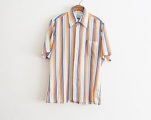 1970s primary striped short sleeve button up | M