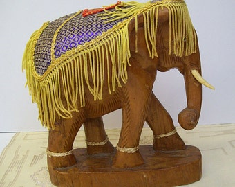 Vintage 1960's CARVED WOODEN ELEPHANT with Ornate Blanket – Painted Eyes – Wood Elephant – India or Thailand -