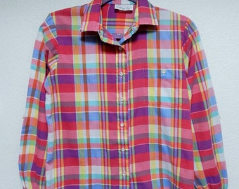 Shapely Womens 12 Plaid Long Sleeve Button Down Blouse/Shirt