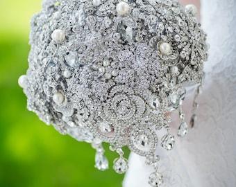 Custom Silver Cascading Brooch Bouquet - Teardrop Bouquet, Wedding Bouquet, Monochrome Brooch Bouquet - Large 10 inch Bouquet