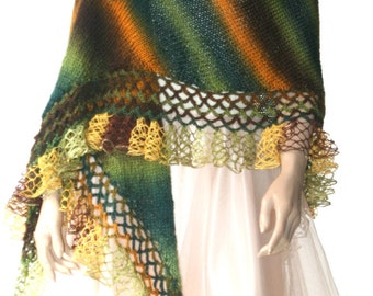 Hand Knitted Crochet Shawl Mohair/Triangle Shawl/ Handmade Shawl green