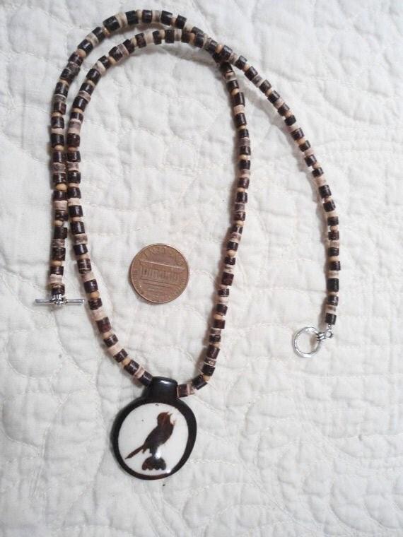 Hippie Necklace Painted Wood Bird Pendant 21 Inces Mens Womens