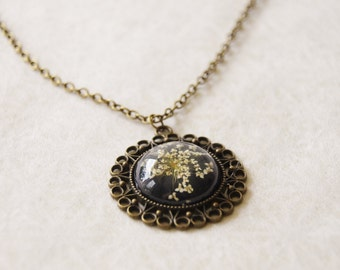 Personalized Flower Necklace, Real Flower Necklace, Queen Anne's Lace Necklace, Resin Flower Necklace, Antiqued Brass Filigree Jewelry Gift