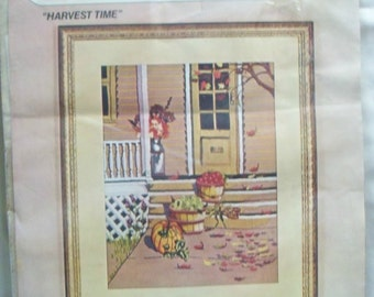 Crewel Embroidery Kit ~ Harvest Time ~ Autumn Picture ~ Door Apples Leaves ~ Unopened