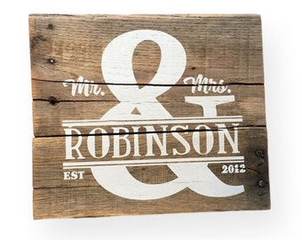 Mr and Mrs Custom wedding sign Rustic wedding signs Anniversary gift Gift for new couple Custom wedding gift Gift for her 10x12