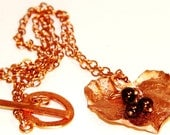 Bright Copper Hammered Leaf Chocolate Swarovski Bead Necklace