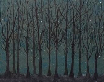 The Hare ran through Starlit Woods Archival Art print - Ethereal / Whimsical Art - Winter / Forest / Stars - Art Gift