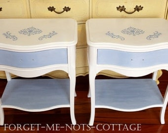 CUSTOM PAINTED Vintage French Provincial Nightstand/ Side Table, Shabby Chic Cottage