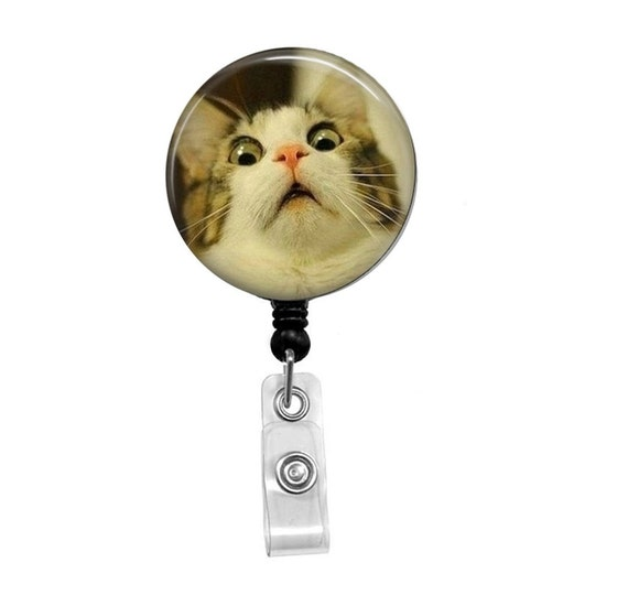 Retractable badge reel cat id badge badge reels funny for Retractable cat toy