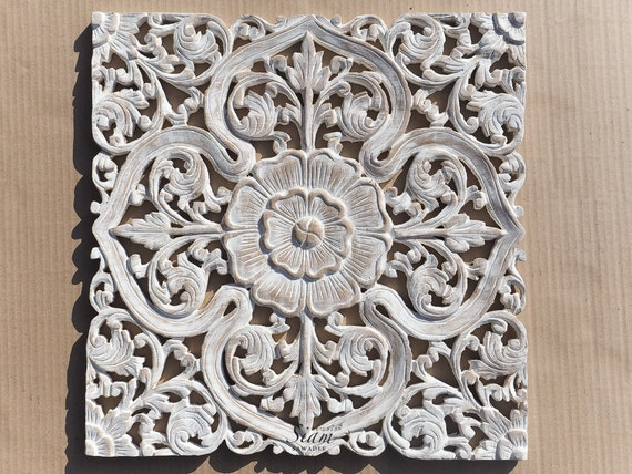 Carved Wood Wall Decor White : White wash lotus carved wood wall art sculpture by